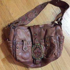Betsy Johnson Caramel leather/bronze stud&hardware